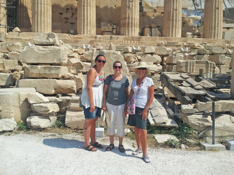 Carolyn (on the right) looks happy while visiting sights in Greece