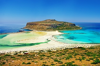 Panoramic view of Balos beach and its turquoise waters