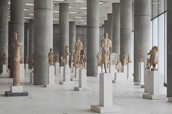 Interior view of Acropolis Museum and unique statues