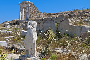 Ancient temple of godess Isis on the island of Delos near Mykonos island
