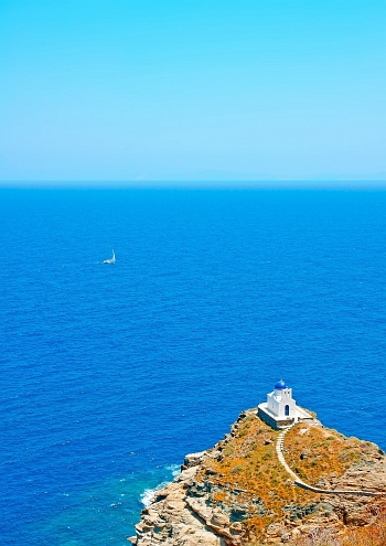 Traditional church by the sea on Sifnos Island