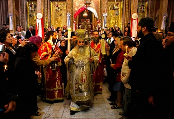 Interior view of orthodox church during a religious ceremony