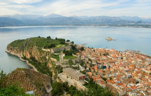 View of Nafplio city and Bourtzi castle