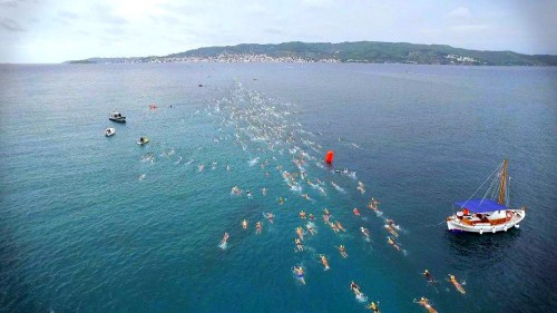 Contestants swimming at the Spetses Mini Marathon
