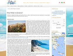 Snapshot of Fantasy Travel new website content concerning the First Timers in Greece