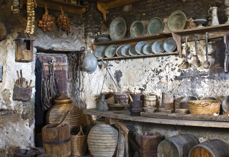 ... Old Traditional Kitchen In A Monastery, Meteora ...