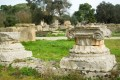 Ancient columns in ancient Olympia city, the site where the Olympic Games were held in Classical times