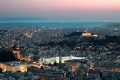 Athens city and Acropolis panorama by night