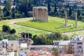 View of the Hadrian arch in the front and the Temple of Zeus in tge back, Athens