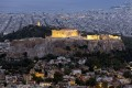 Panoramic view of Athens city and Parthenon Temple by night