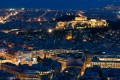 Panoramic view of Athens city and Acropolis Hill by night