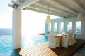 Restaurant by the pool at the luxurious resort Cavo Tagoo, Mykonos island