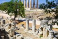 Ruins of the ancient Temple of Apollo in Corinth, Greek mainland tour
