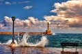 Lighthouse and old harbor in Chania, Crete island