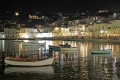 Old port of Mykonos island by night