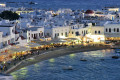 Night view of the port of Mykonos island, Greece cruise