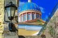 Picturesque street with view to a traditional church dome, Syros island