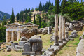 Ancient ruins at Delphi archaeological site, Greek mainland tour