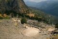 The ancient theater of Delphi (foreground) and the ruins of the Temple of Apollo (background), Delphi archaeological site