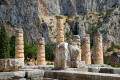 The ruins of the Temple of Apollo, Delphi archaeological site