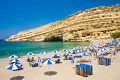 Famous Matala beach in Heraklion city, Crete island