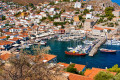 Pictorial panoramic view of the port on Hydra island