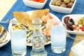 Traditional delicacies, seafood and ouzo drink, Lesvos island