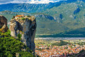 The steep rock formations of Meteora