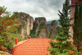 Colorful and flowery yard of the Holy Monastery of Rousanou in Meteora, Thessaly