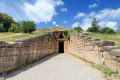 "The Treasury of Atreus also know as Tomb of Agamemnon is an impressive ""tholos"" tomb on the Panagitsa Hill at Mycenae"