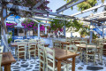 Traditional flowery Greek tavern, Mykonos island