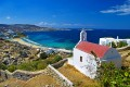 Orthodox church in top of a hill with amazing sea view, Mykonos island