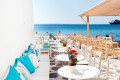 Traditional colorful cafeteria by the sea, Mykonos island