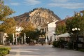 View of the Palamidi fortress on the rocks from the Nafplion city center, Peloponnese