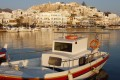 Traditional boats and buildings in Chora, Naxos island