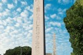 View of the Obelisk of Theodosius at the Roman Hippodrome in Istanbul, Turkey