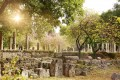 Ruins at ancient Olympia city, a sanctuary of ancient Greece in Elis on the Peloponnese peninsula