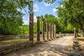 Ruins at the ancient Olympia, a sanctuary of ancient Greece in Elis on the Peloponnese peninsula