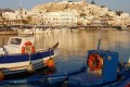 View of port and traditional boats, Naxos island