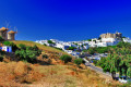 Panoramic view of old windmills and chora, Patmos island