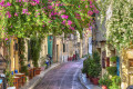 Traditional flowery alley in Plaka area, Athens