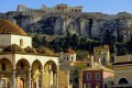View of Acrpolis Hill and the famous Parthenon Temple from Monastiraki square, Athens