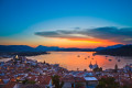 Colorful sunset over the golden Aegean sea, Poros island