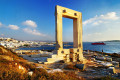 Portara, a 2,500-year-old marble doorway that used to serve as the gate of Apollo's temple, Naxos island