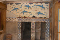 3500 year illustration in Queen's apartments in ancient Knossos Palace of Heraklion city, Crete island