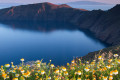 Extraterrestial view of the isolated volcanic cliffs embellished with flower beds and the morning glory of the peaceful sea, Santorini island