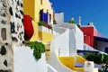Colorful houses and resorts in Fira town, Santorini island