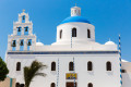 Famous Orthodox Church Cupolas and the Tower Bell, Santorini island