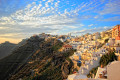 Panoramic view of Fira town perched on volcanic cliffs, Santorini island