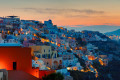 Oia town at sunrise, Santorini island